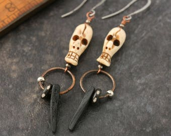Bone skull earrings. Coconut shell and wood and copper. Long earrings.