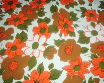 Vintage Tablecloth Orange Brown Floral Olive Green Retro 51 x 51 inches