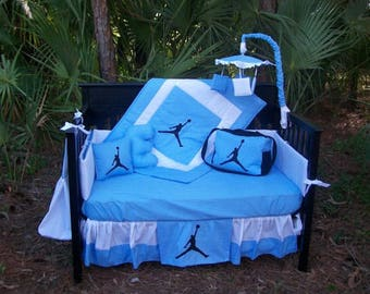 NEW 9 piece baby blue baby crib bedding set in Michael Jordan JUMPMAN w/ Diaper Bag and Mobile Accessory Package