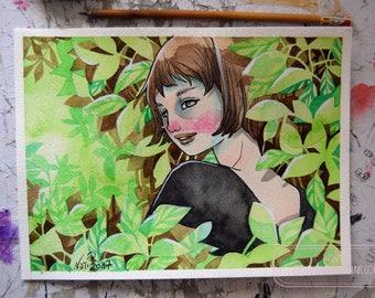 Ink and Watercolor Illustration - Mori Girl - Whimsical - Watercolor - ORIGINAL - OOAK - A Spring Morning - Green
