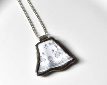 Broken China Jewelry Pendant - Grey and White