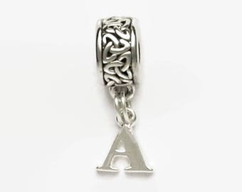 Celtic Knot Large Hole European Bead with Letter Charm Personalized Silver Tones