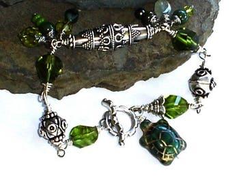 Czech Peridot Turtle Balinese Sterling Silver Wire Wrap Bracelet