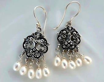 White Freshwater Pearl Earrings Chandelier Filigree Sterling Silver Dangle earrings