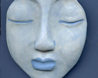 """Polymer  OOAK Extra  Large Pale Blue Detailed  Buddha Face Cab 3"""" x  2 3/4 """" XLBLBD 1"""
