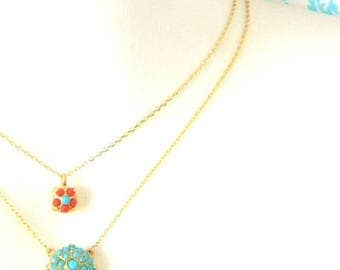 SALE Turquoise Coral Gold Double Strand Necklace