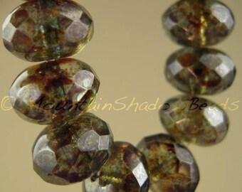 25% OFF Sale 10 Czech Firepolished Rondelle Beads 11mm Olivine Luster (GG2)