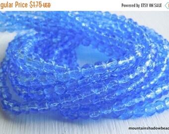20% Summer SALE 3mm English Cut Beads - Sapphire - Czech Glass Beads - 50 pcs (SP - 35)