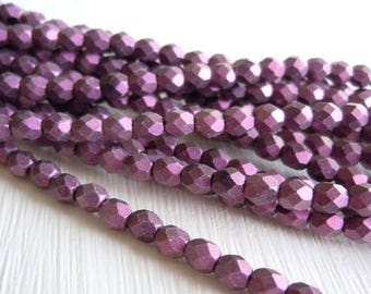 20% Summer SALE 4mm Czech Beads - Metallic Suede Pink Firepolished Faceted 50 pcs