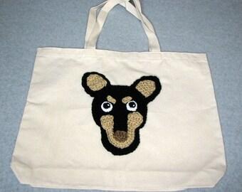 Mini Pinscher Canvas Tote  - Dog Tote Bag- Pet Lovers Bag - Custom Tote Bag - Dog Lover Gift - Dog Moms Gift -