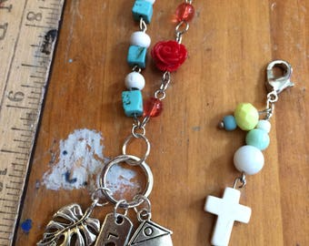 Cute beaded necklace with planner or purse charm bonus  house home love