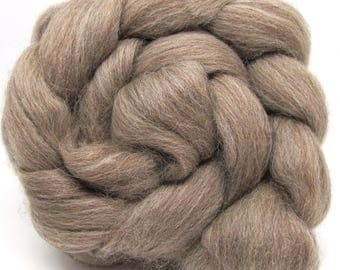 BFL Bluefaced Leicester Natural Coloured combed wool top Brown Grey 100g 3.5 oz