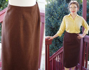 "Hot COCOA 1940's 50's Vintage Dark Brown Speckled Wool Tweed Pencil Skirt w/ Kick Pleats // size Medium W 29"" // Handmade"