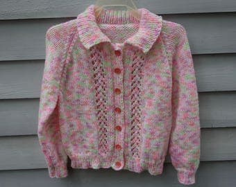 Girl, size 3, multi color cardigan sweater with lacy panels and collar.