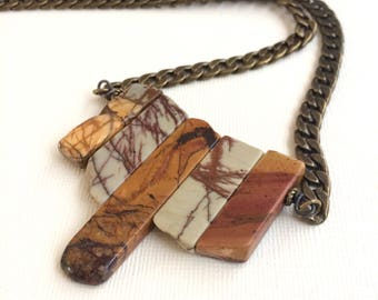 Red Creek Jasper Necklace - Picasso Jasper Wire Wrapped Bib Necklace - Stone Statement Necklace on Bronze Curb Chain
