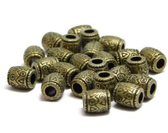 Large Hole Beads - Antique Bronze Beads - Barrel Beads - Metal Beads - Bronze Spacer Beads - Leather Beads - 24pcs (4349)