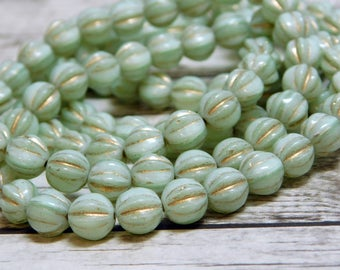 25pcs - 6mm - Round Beads - Melon Beads - 6mm Beads - Fluted Round - Czech Glass Beads - Mint Green - Spacer Beads - (1889)