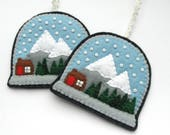 RESERVED: 5 Felt Snow Globe Ornaments