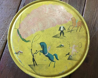 Vintage yellow circus illustrated tin 40s 50s midcentury container