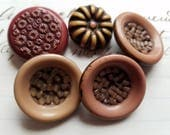 """Five (5) Lovely, Vintage, Buffed Celluloid Buttons. 7/8"""" and 1 1/8""""."""