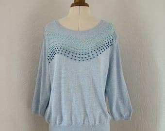 Blue ocean wave jumper, beaded, UK 16, US 14, sweater, pullover, nautical, sea, blue, navy, teal, zero waste, embellished, spring tide