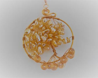 Tree of Life Pendant, Free Shipping, Copper Frame, AB Golden Glass Chips, Lobster Clasp, 24 inch Chain, Bridal, Wedding, Modern, BOHO, Women