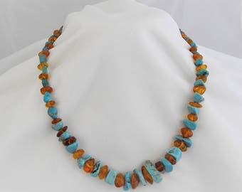 Golden Amber and Turquoise Magnesite Necklace Set, Free Domestic Shipping, Pierced Earrings 2 in, 22.5 inch necklace, Southwest style