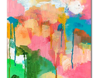Color Cloud Abstract - ORIGINAL Painting on 11x14 Wood Panel by JENLO