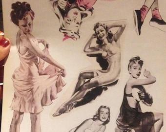 Pretty Ladies (1940s Ephemera) VINYL STICKER SET