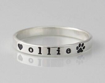 Dog Ring, Paw Print Ring, Dog Paw Ring, Pet Ring, Pet Mom, Ring with Pet Names, Sterling Silver Skinny Ring