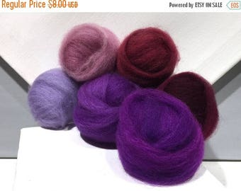 "KIT SALE Purple roving sampler, Felting wool kit, ""The Colors Purple"" lavender, purple, violet, wine, merlot, wool roving kit, blending fibe"