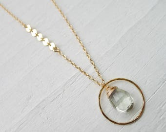 Green Amethyst Hammered Hoop Necklace with Asymetrical Sequin Chain Gold Filled