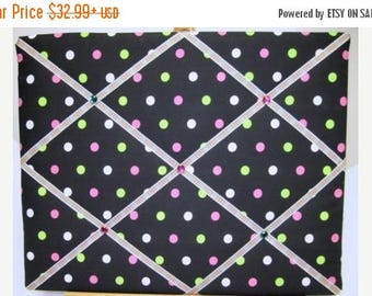 Eclipse Sale Polka Dot Memory Board, Chocolate French Memo Board, Pink Green Polka Dot Fabric Ribbon Memo Bulletin Board, Fabric Pin Board,