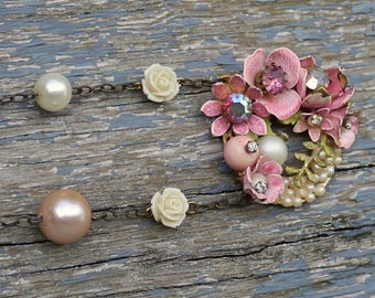 Necklace Boho Chic Loveliness - Mixed Media and Vintage Necklace - Forever Spring Delight - One of a Kind -