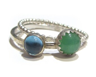 Sky Blue Topaz and green Chrysoprase minimalist sterling silver rings to stack