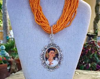 Frida Kahlo with Monkeys Orange Seed Bead Necklace