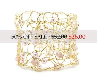 Wide Cuff, Gold Tone Bracelet, Knitted Wire Cuff, Beaded Bracelet, Swarovski Crystals, Pink Swarovski Pearls, Ready to Ship, by Durango Rose