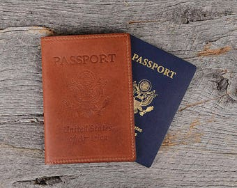 Whiskey Leather Passport Holder passport case 3 Card Slots Free Monogram|Personalized Travel Gift for Man Boyfriend Husband Dad Brother Grad