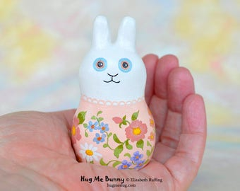 Handmade Bunny Rabbit Figurine, Miniature Sculpture, White, Peach Floral, Hug Me Bunny, Animal Charm Figure with Flowers, Personalized Tag