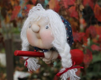 Pheobe the Kitchen Witch - Kitchen Witch Doll - Herb Witch - Green Witch - Good luck doll for your kitchen!