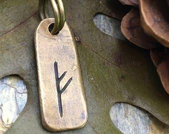 Fehu Rune, Nordic Runes, Bronze Rune Pendant, Viking Runes, Rune Charms, Men's Necklaces, Nordic Jewelry, Elder Futhark, Viking Jewelry