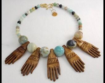 5 HANDS - Handcarved Bone Hands - Amazonite Statement Necklace