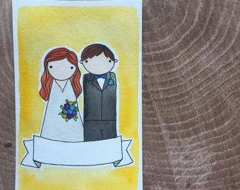 PegBuddies Postcard Portrait- watercolor wedding picture, family portrait, wedding gift, watercolor postcard