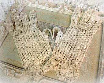 vintage crochet gloves SMALL irish rose crochet very fine cotton thread exquisite workmanship heirloom gloves