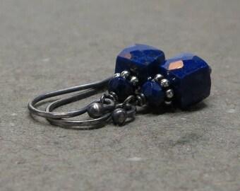 Lapis Earrings Petite Geometric Jewelry Oxidized Sterling Silver Earrings Navy Blue Lapis Lazuli