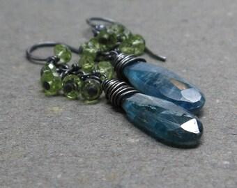 Moss Kyanite Earrings Peridot Cluster Oxidized Sterling Silver Blue, Green Earrings Gift for Her