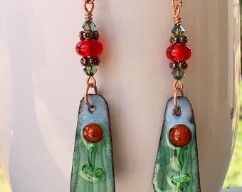 Swarovski Crystal Lampwork Beads Enameled Copper Dangle Earrings  handmade ooak srajd summer