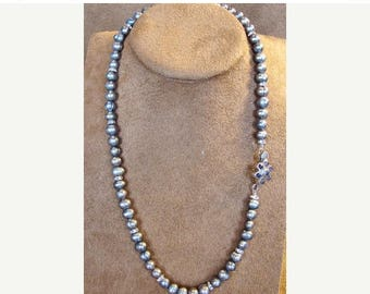 Moving Sale 40% Off Sterling Silver and Black Freshwater Pearl Necklace