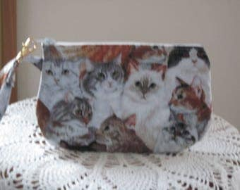 Cat Clutch Cat Wristlet Zipper Gadget Pouch Purse in Cats Made in USA