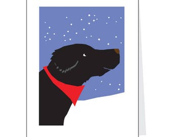 Christmas Cards Black Lab in snow Greeting Card Set